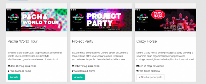 La piattaforma interna per accedere agli eventi