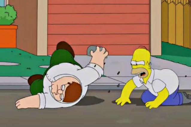 Homer Simpson e Peter Griffin si incontrano a Springfield