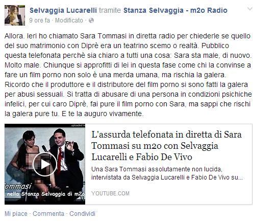 """Selvaggia Lucarelli e l'appello per Sara Tommasi: """"Sta male"""""""