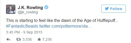 Harry Potter, secondo J.K. Rowling potrebber presto iniziare l'era dei Tassorosso