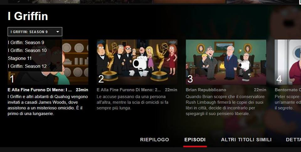 Nel catalogo Netflix mancano le prime otto stagioni dei Griffin