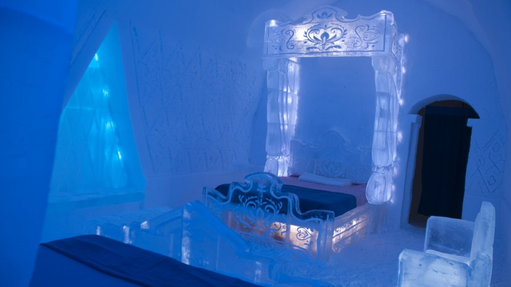 La Frozen Suite all'Hotel de Glace, in Canada