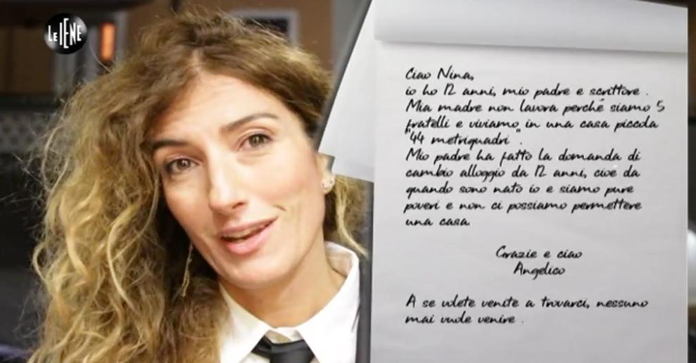 La lettera inviata dal piccolo Angelico a 'Le iene'
