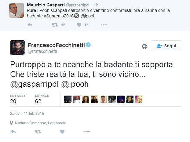 Sanremo 2016: Gasparri offende i Pooh, Facchinetti jr. risponde