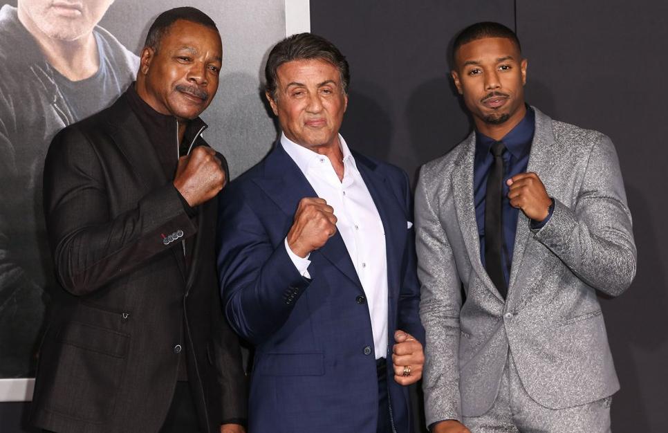 Carl Weathers insieme a Sylvester Stallone e Michael B. Jordan alla premiere di 'Creed' (Deadline, 2015)