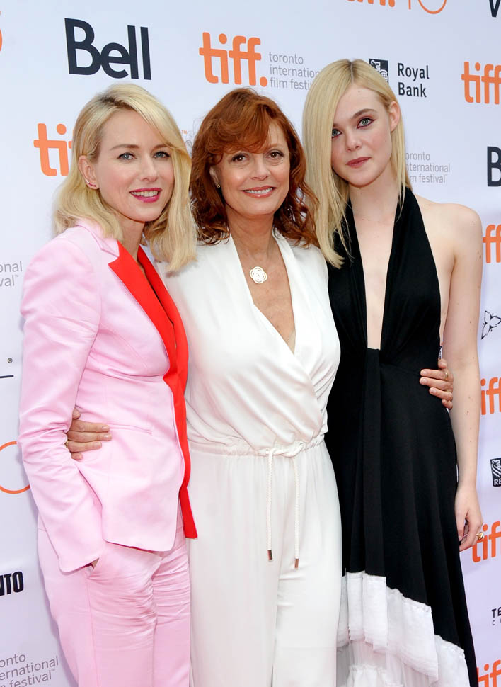 "TORONTO, ON - SEPTEMBER 12:  (L-R) Actresses  Naomi Watts, Susan Sarandon and Elle Fanning attend the ""About Ray"" premiere during the 2015 Toronto International Film Festival at the Princess of Wales Theatre on September 12, 2015 in Toronto, Canada.  (Photo by George Pimentel/WireImage)"